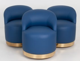 Karl Springer: Set Of Three Blue Leather Upholstered
