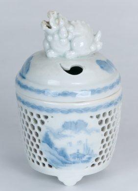 Japanese Blue & White Rectangular Hirado Porcelain Koro