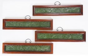 Set Of Four Chinese Framed Spinach Jade Plaques
