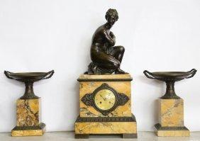 French Bronze & Marble Clock Garniture Set
