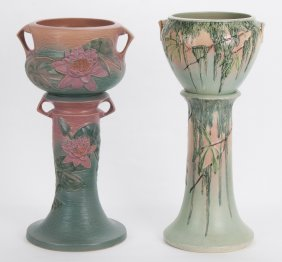 Roseville: Two Pottery Jardinieres With Pedestals