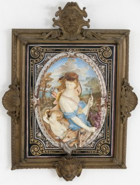 Majolica Plaque Of Diana The Hunter