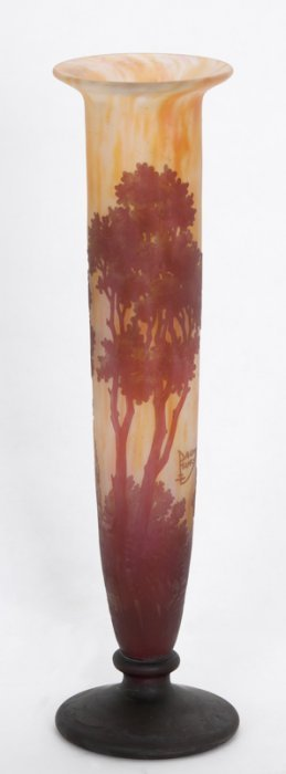 Daum Cameo Glass Landscape Vase