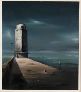 """Robert Watson: """"woman Gazing Over Ocean & Lighthouse"""""""
