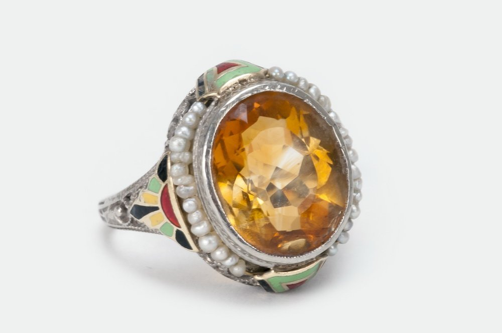 14 KARAT GOLD, CITRINE, & PEARL RING