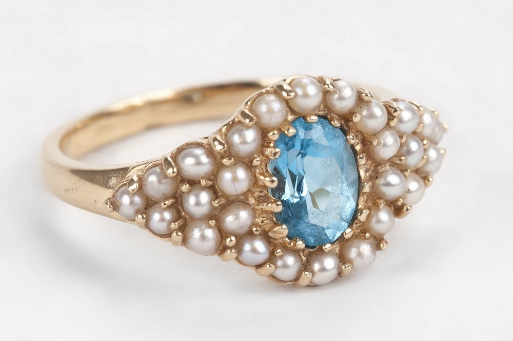 14 KARAT BLUE ZIRCON  & SEED PEARL RING