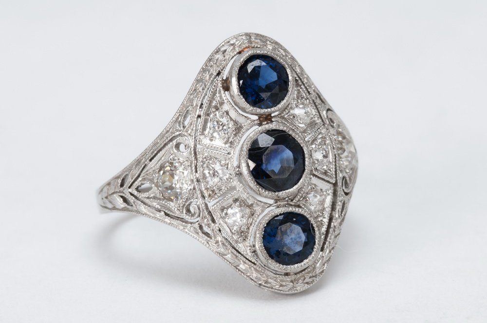 PLATINUM, SAPPHIRE, & DIAMOND RING