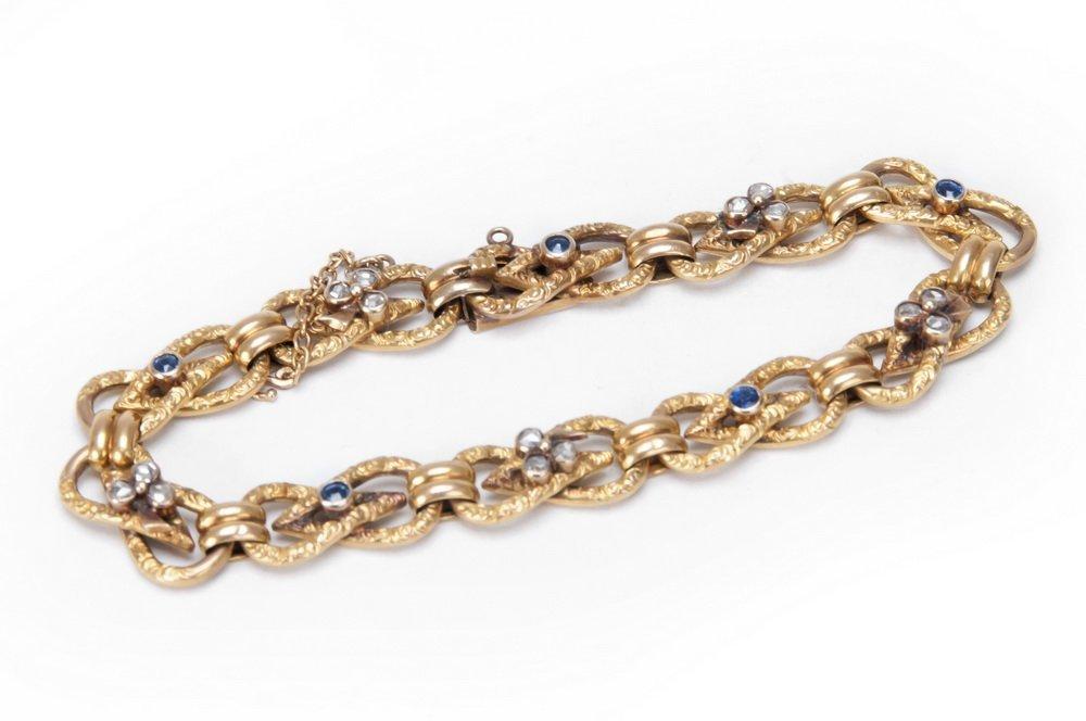 FRENCH 18 KARAT GOLD, SAPPHIRE, & DIAMOND BRACELET