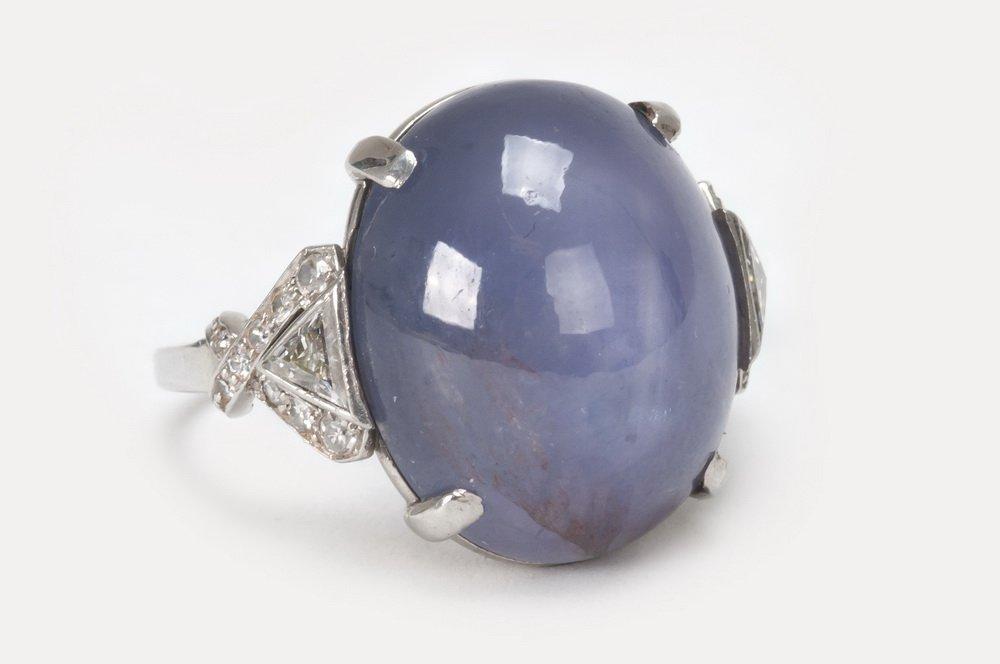 PLATINUM, STAR SAPPHIRE, & DIAMOND COCKTAIL RING