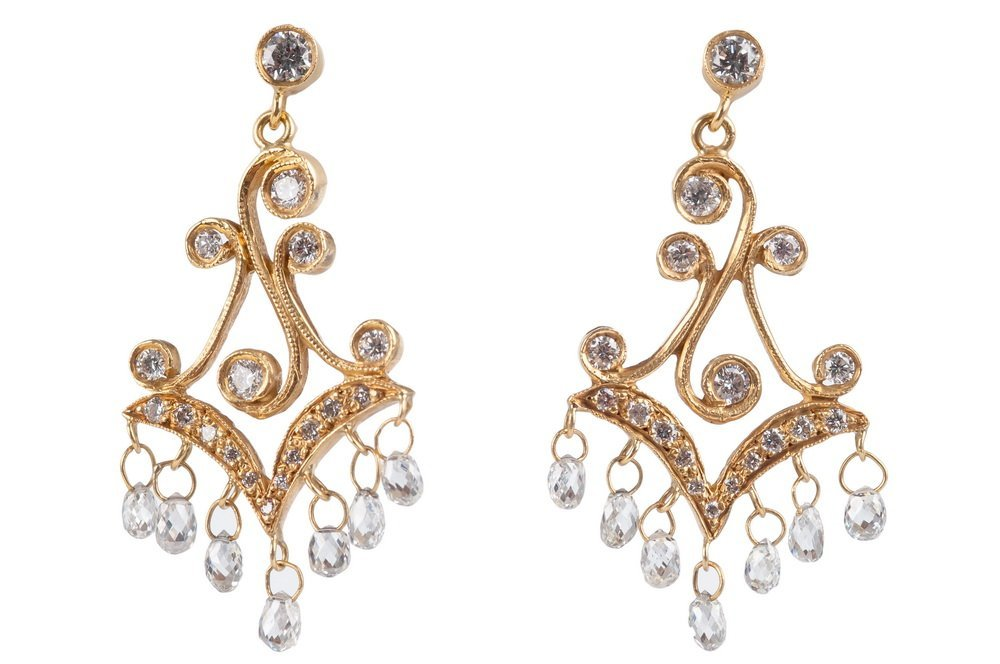 PAIR OF 20 KARAT GOLD & DIAMOND DROP EARRINGS