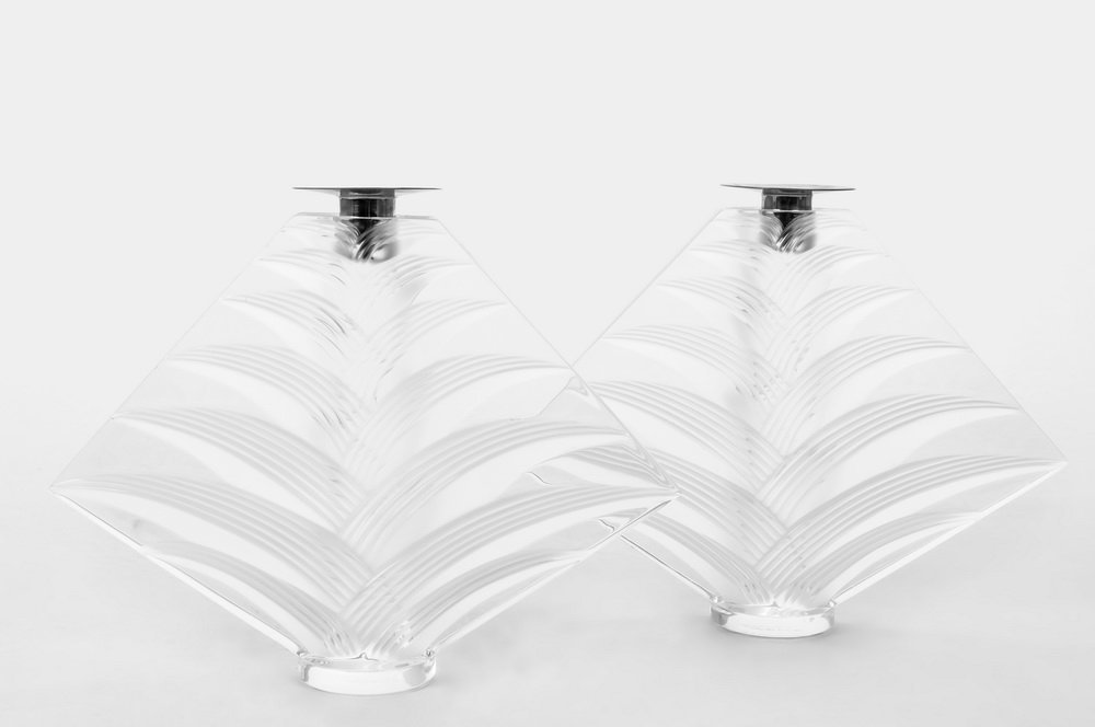 "PAIR OF LALIQUE ""RAVELANA"" MOLDED GLASS CANDLESTICKS"