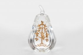 "STEUBEN ""PARTRIDGE IN A PEAR TREE"" PAPERWEIGHT"