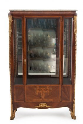 FRENCH ORMOLU-MOUNTED & MARQUETRY VITRINE CABINET