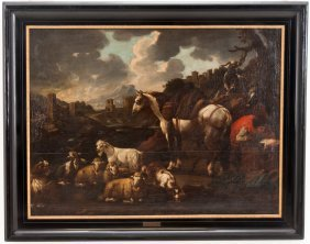 "ATTRIBUTED TO PHILIPP PETER ROOS: ""LANDSCAPE SCENE WITH"