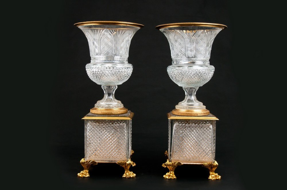PAIR OF CRYSTAL & ORMOLU MOUNTED GLASS URNS