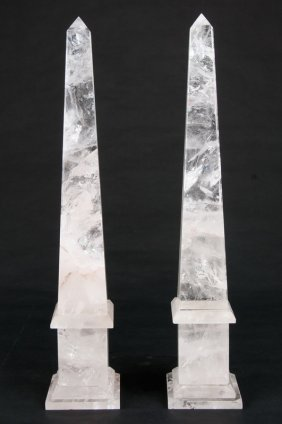 Pair Of Rock Crystal Obelisks
