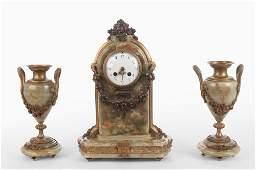 FRENCH THREEPIECE BRONZE  ONYX CLOCK GARNITURE