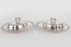 Pair Of Black, Starr & Frost Sterling Covered Entree