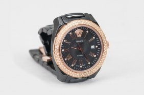 VERSACE CERAMIC & ROSE GOLD-TONED AUTOMATIC WATCH