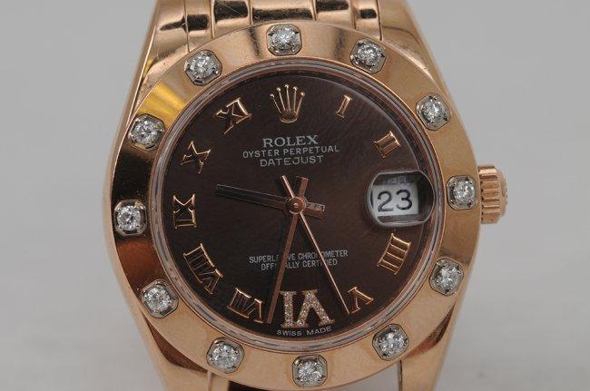 rolex 18 karat rose gold pearlmaster with diamond bezel. Black Bedroom Furniture Sets. Home Design Ideas