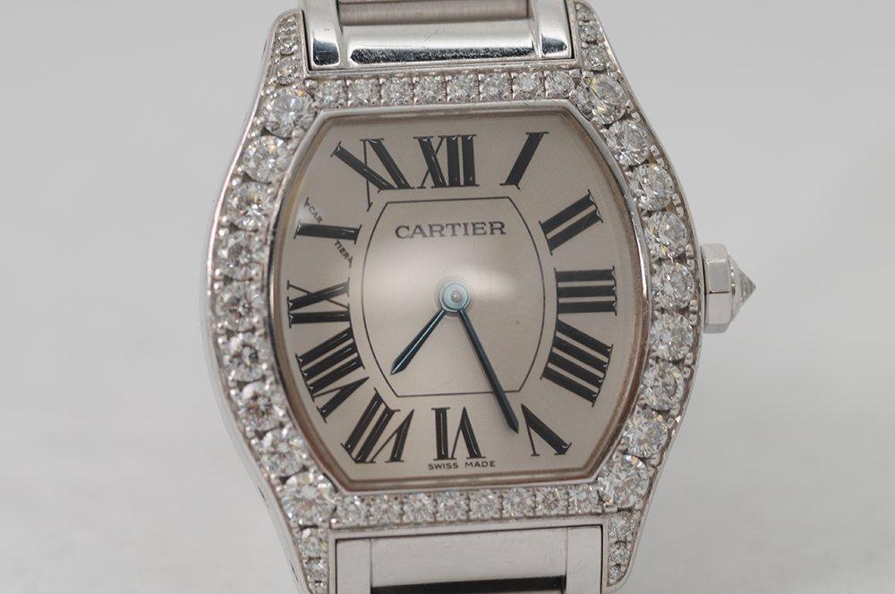 CARTIER TORTUE 18 KARAT WHITE GOLD & DIAMOND LADIES - 3