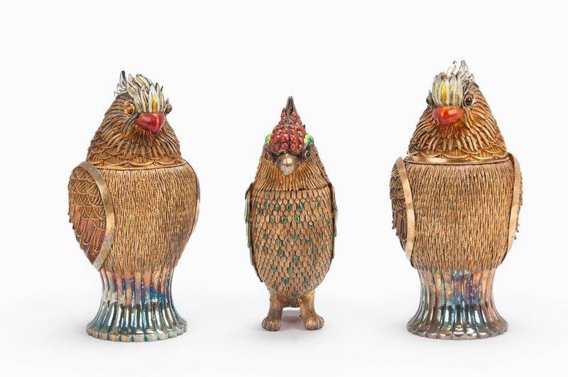 SET OF THREE ENAMELED CHINESE GILT SILVER BIRD BOXES