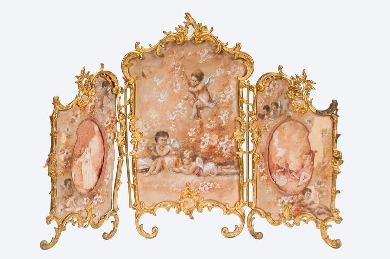 FRENCH GILT BRONZE & PAINTED TRIPTYCH TABLE SCREEN