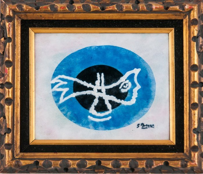 AFTER GEORGES BRAQUE: ENAMELED COPPER PLAQUE