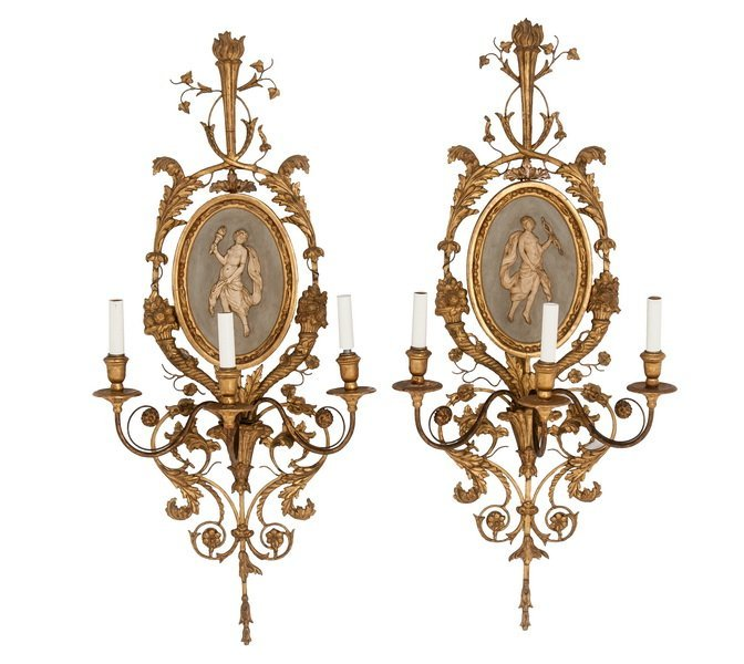 PAIR OF CONTINENTAL NEOCLASSICAL STYLE CARVED GILTWOOD