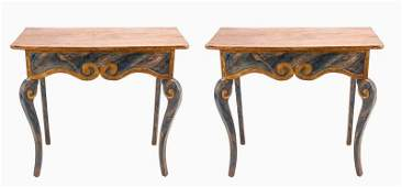 PAIR OF ITALIAN PAINTED & PARCEL GILT CONSOLE TABLES
