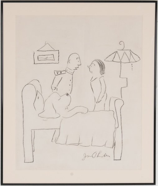 """JAMES THURBER: """"COUPLE STANDING AT BEDSIDE"""""""