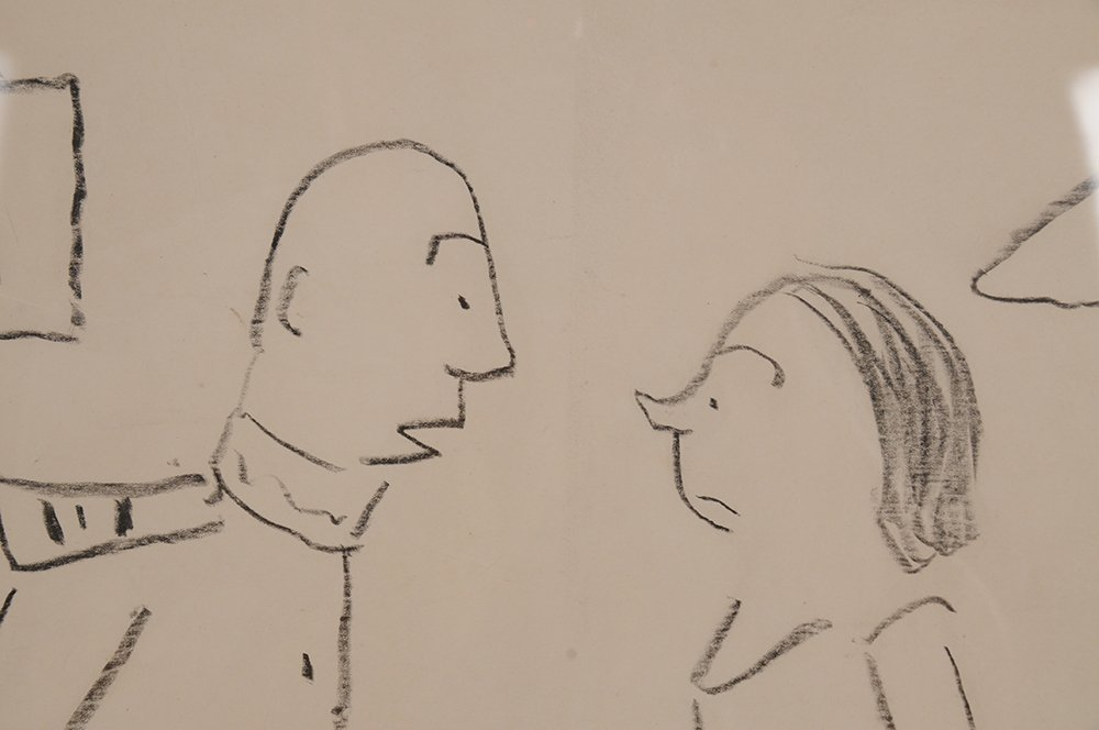 """JAMES THURBER: """"COUPLE STANDING AT BEDSIDE"""" - 5"""