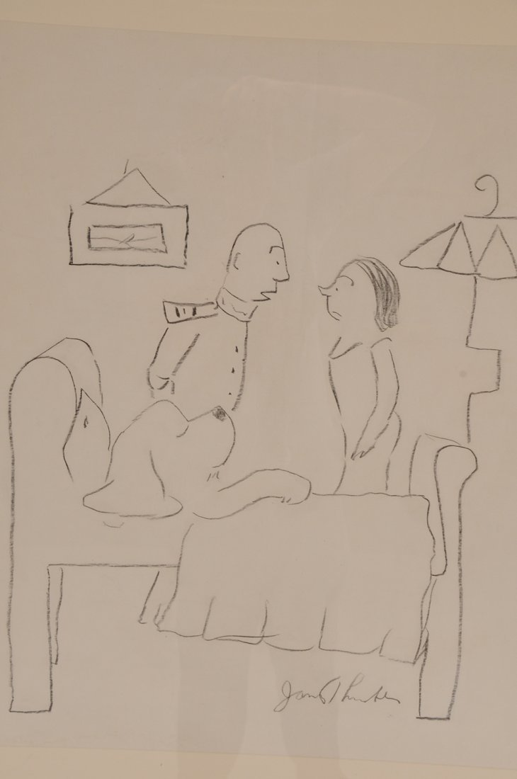 """JAMES THURBER: """"COUPLE STANDING AT BEDSIDE"""" - 6"""