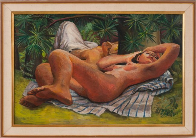 "DAVID PARK: ""MAN AND WOMAN RECLINING"""