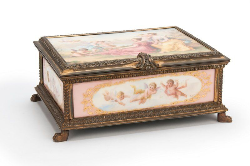 FRENCH GILT BRONZE & PAINTED PORCELAIN TABLE BOX
