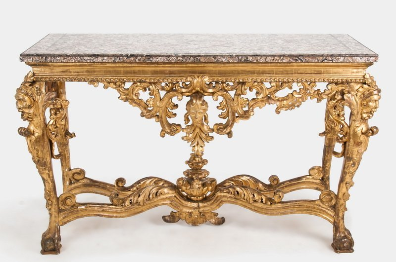 ITALIAN BAROQUE CARVED & GILTWOOD CONSOLE TABLE