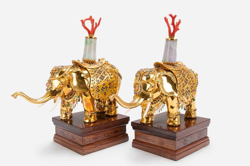 PAIR OF 18 KARAT GOLD, ENAMEL, & GEMSTONE ELEPHANTS
