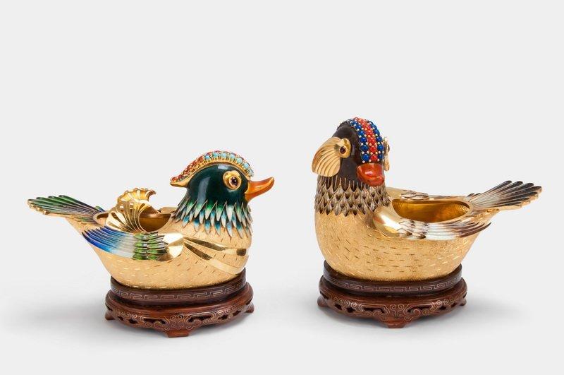PAIR OF FOURTEEN KARAT GOLD & ENAMEL BIRD VESSELS