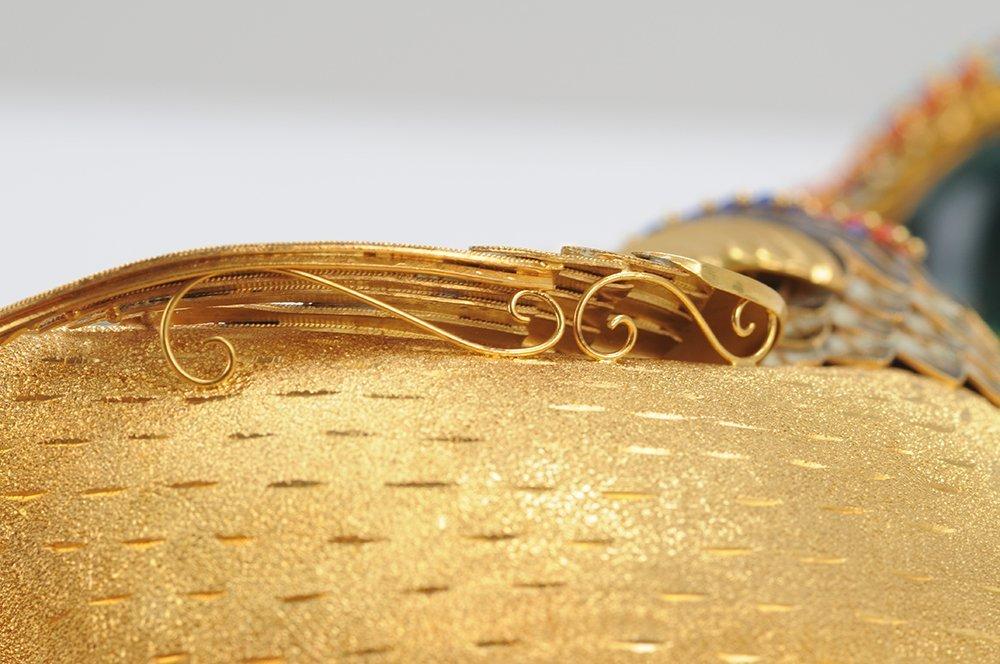 PAIR OF FOURTEEN KARAT GOLD & ENAMEL BIRD VESSELS - 4
