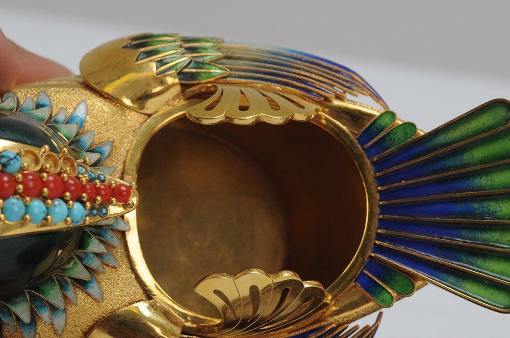 PAIR OF FOURTEEN KARAT GOLD & ENAMEL BIRD VESSELS - 5