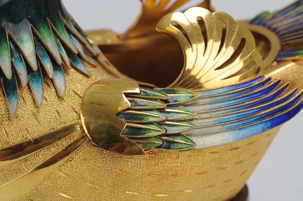 PAIR OF FOURTEEN KARAT GOLD & ENAMEL BIRD VESSELS - 7