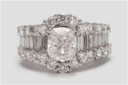 18 KARAT WHITE GOLD & DIAMOND RING