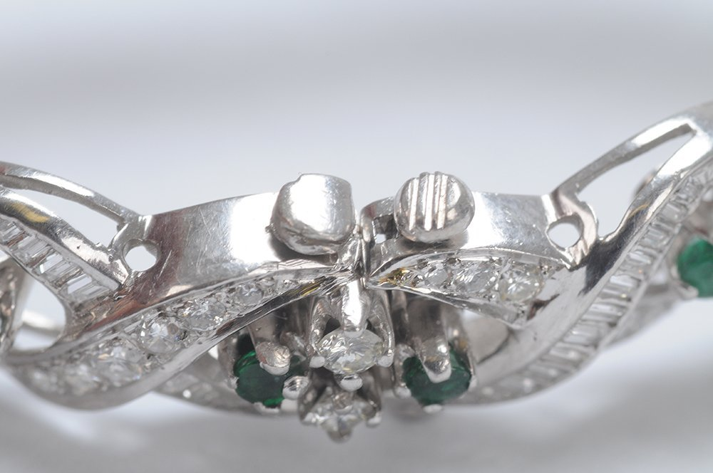 PLATINUM, EMERALD & DIAMOND BRACELET - 4