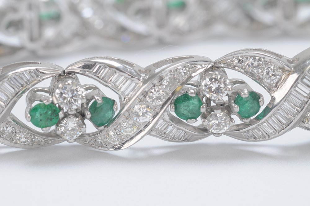 PLATINUM, EMERALD & DIAMOND BRACELET - 6