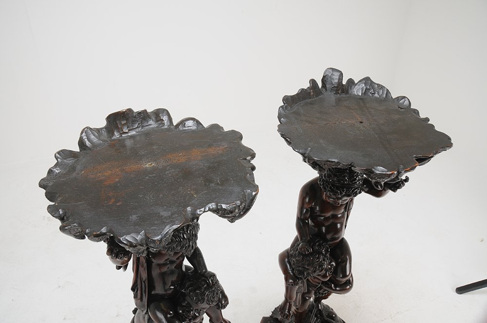 PAIR OF VENETIAN BAROQUE CARVED WALNUT FIGURAL - 7