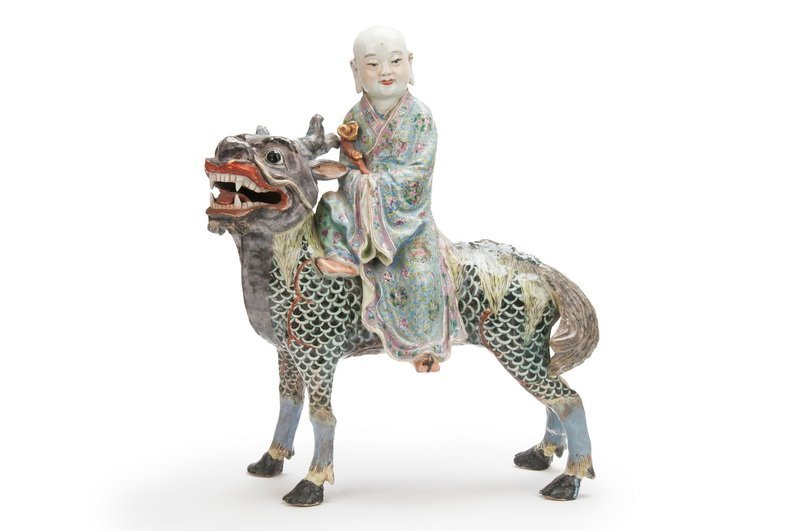 CHINESE POLYCHROME ENAMELED CERAMIC FIGURE OF A SAGE