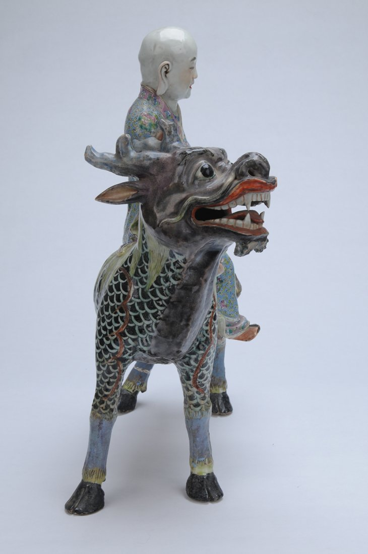 CHINESE POLYCHROME ENAMELED CERAMIC FIGURE OF A SAGE - 6