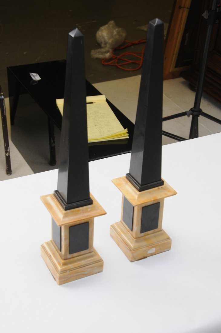 PAIR OF NEOCLASSICAL STYLE BLACK SLATE & MARBLE - 3