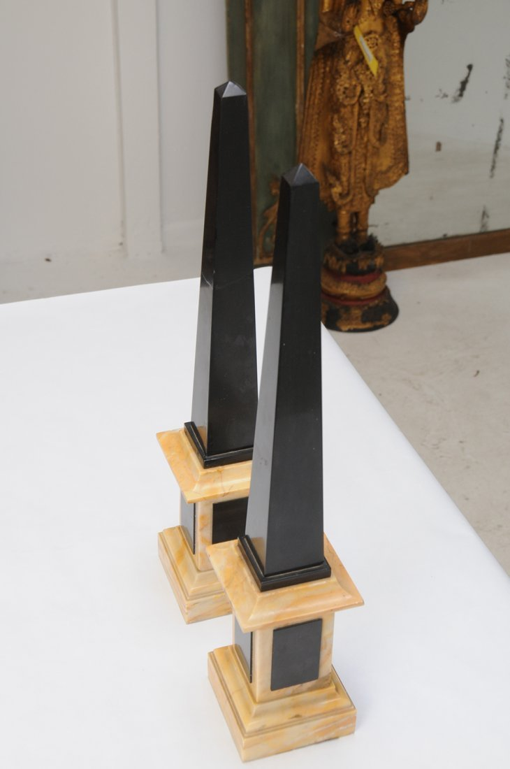 PAIR OF NEOCLASSICAL STYLE BLACK SLATE & MARBLE - 4