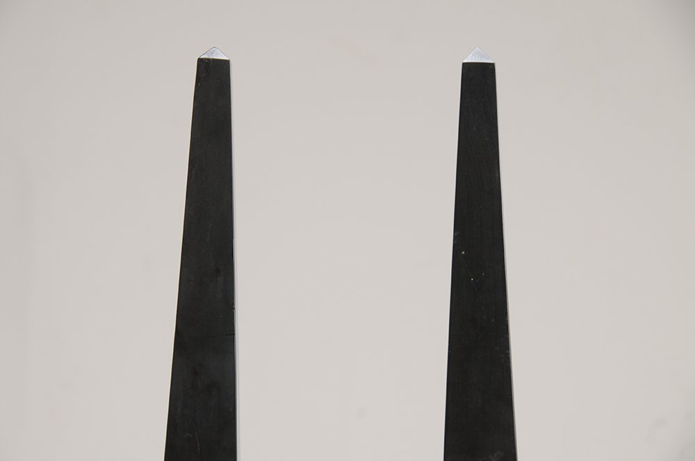 PAIR OF NEOCLASSICAL STYLE BLACK SLATE & MARBLE - 5